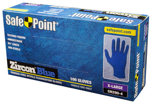 SafePoint Zircon Blue Disposable Nitrile Gloves, Powder Free, 100 Count