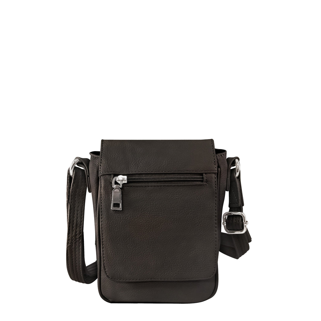 Cowhide Leather Compact Concealed Carry Crossbody Bag