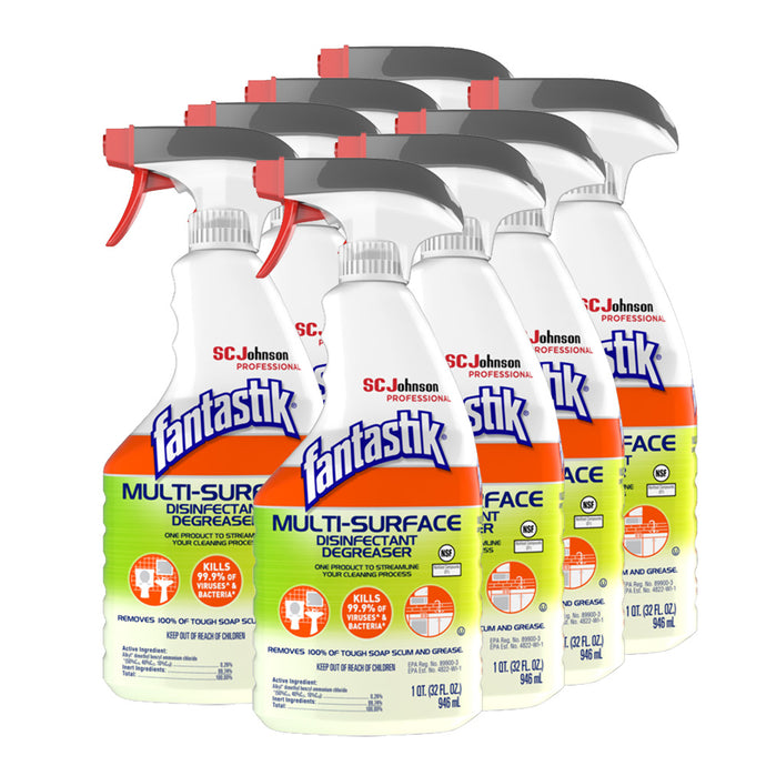 Fantastik Multi-Surface Disinfectant Degreaser, 32oz, 8 Spray Bottles