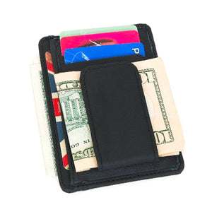 Printed grain cow hide leather money clip with magnet Black