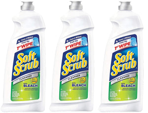 Soft Scrub Cleanser with Bleach Disinfectant, 24-oz, 3 Bottles