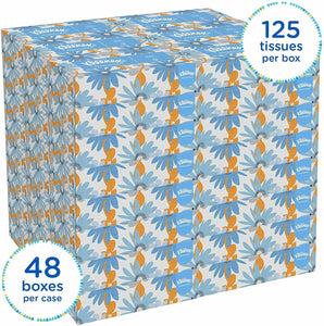 Kleenex White Facial Tissue, 2-Ply, Pop-Up Box, 125 Sheets/Box, 48 Boxes (6,000 Tissues)