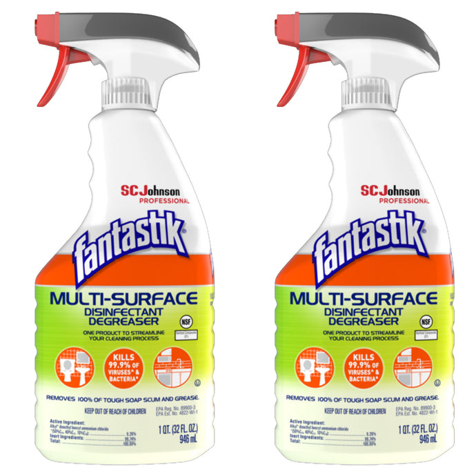 Fantastik® Multi-Surface Disinfectant Degreaser, 32oz, 2 Spray Bottles