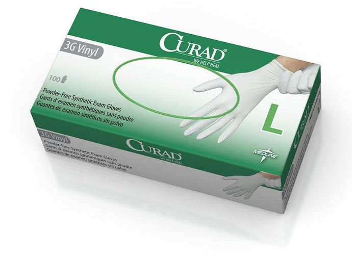 Curad 3G Synthetic Vinyl Exam Gloves, Powder-Free, 100/Box, Large