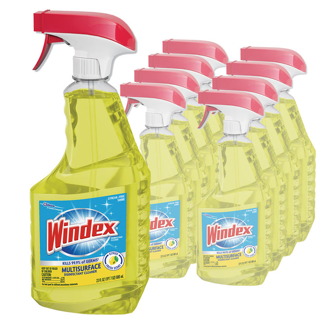 Windex Multi-Surface Disinfectant Cleaner, 23oz, 8 Spray Bottles