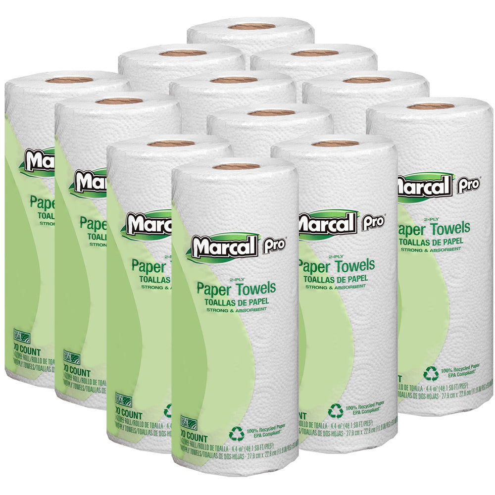 Marcal Pro Paper Towels, 2-Ply, 70 Sheets, 100% Recycled, 12 Rolls