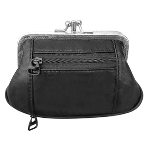 Mini Leather Coin Purse Organizer with Credit Card Slots - Framed Zipper Closures