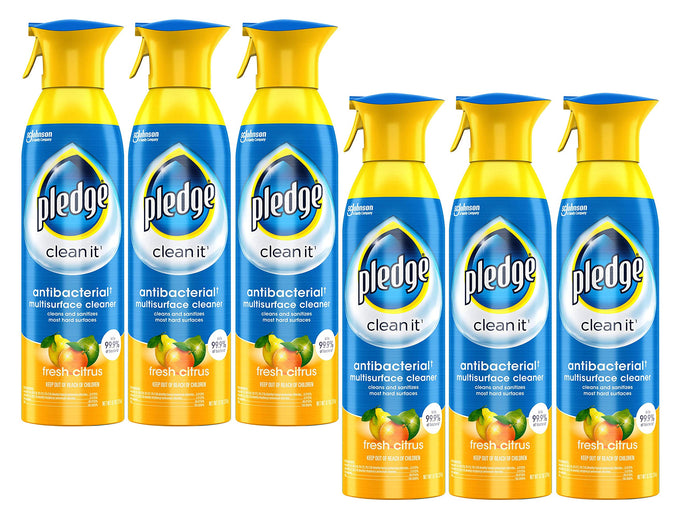 pledge antibacterial multisurface cleaner citrus