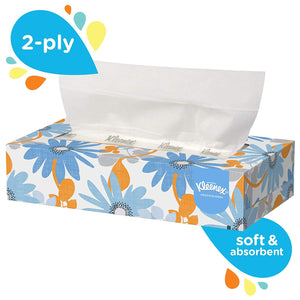 Kleenex White Facial Tissue, 2-Ply, Pop-Up Box, 125 Sheets Per Box, 6 Boxes