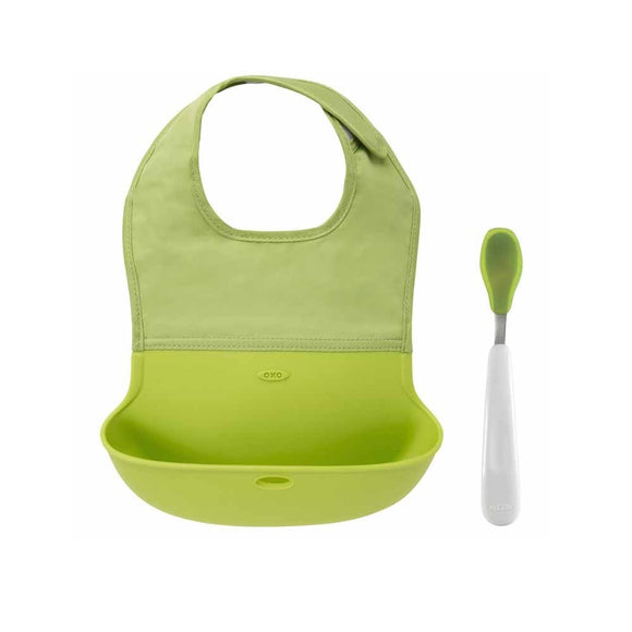 OXO Tot Roll Up Bib and Spoon Set