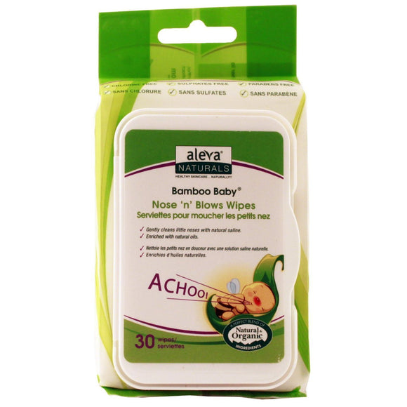 Aleva Naturals Nose 'n' Blows Wipes - 30 Count