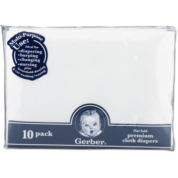Gerber Flatfold Gauze Cloth Diapers - 10pk