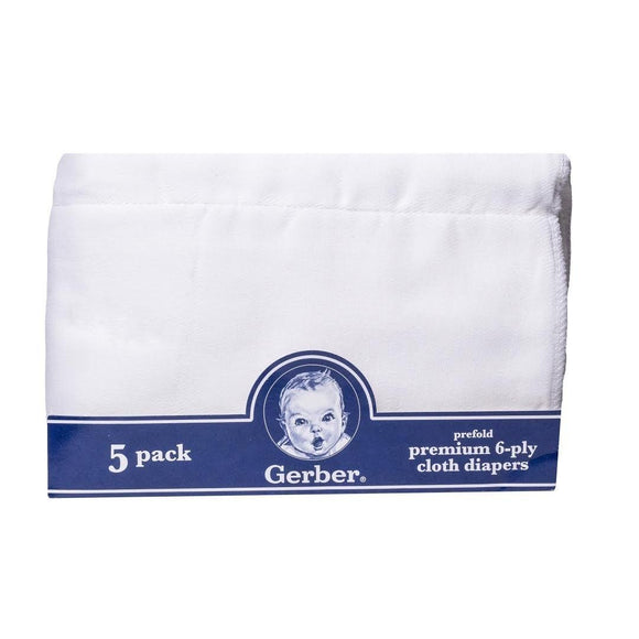 Gerber Prefold Premium 5-Ply Cloth Diapers
