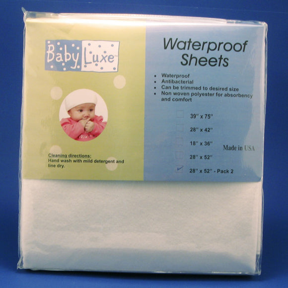 Babyluxe Waterproof Crib Sheet, 2pk - 28