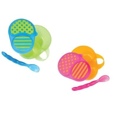 Sassy First Solids Feeding Bowl with Spoon - Assorted Colors
