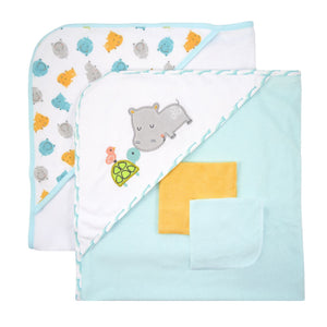 Just Born Love to Bathe 4pc Towel and Washcloth Set