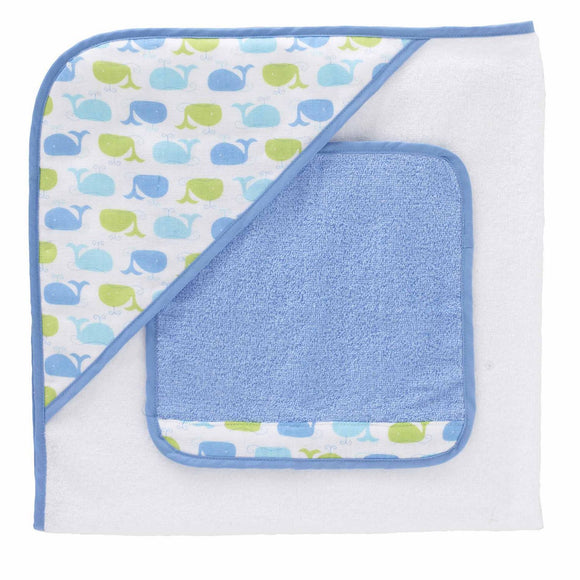 Just Born Sea Brights Hooded Towel and Washcloth Set