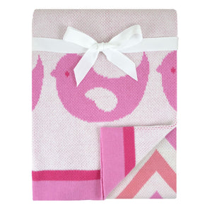 Just Born Birdie Jacquard Sweater Blanket - Pink