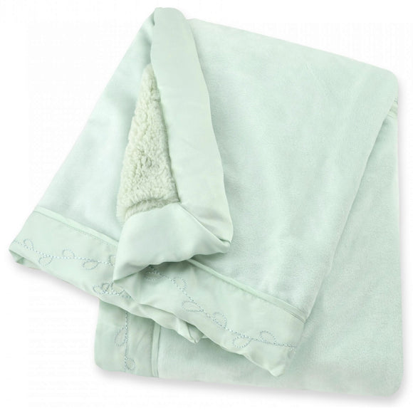 Just Born Cuddleplush Valboa Blanket w/Embroidered Vines Border