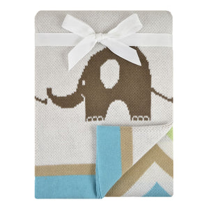 Just Born Elephant Jacquard Sweater Blanket - Grey
