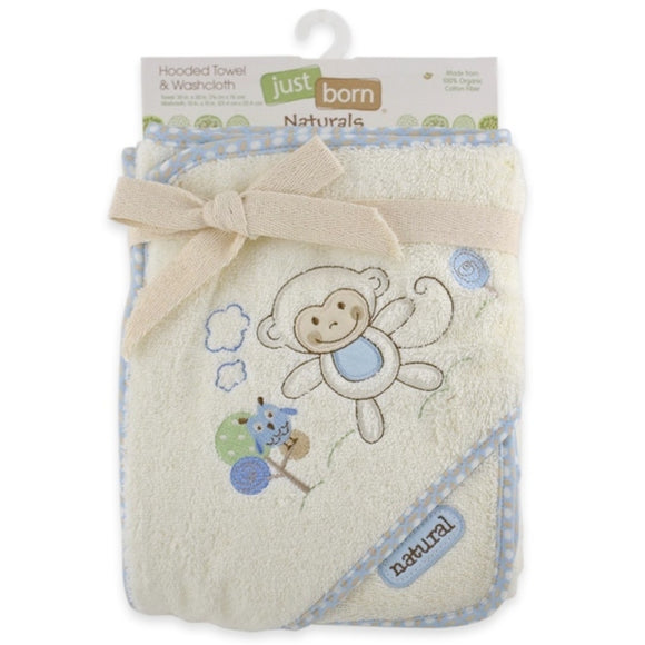 Just Born Naturals Hooded Towel and Washcloth Set - Blue Monkey