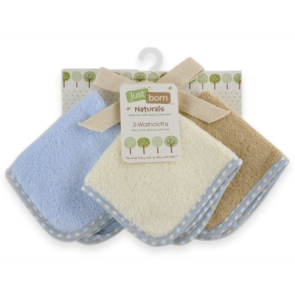 Just Born Organic Washcloths 3pk - Boy