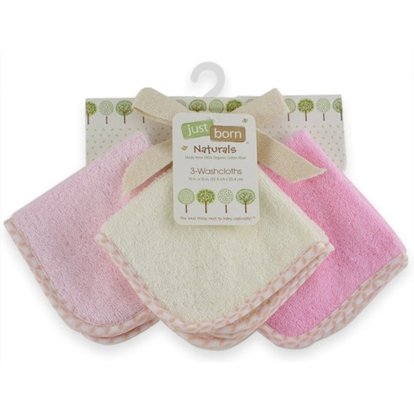 Just Born Organic Washcloths 3pk - Girl