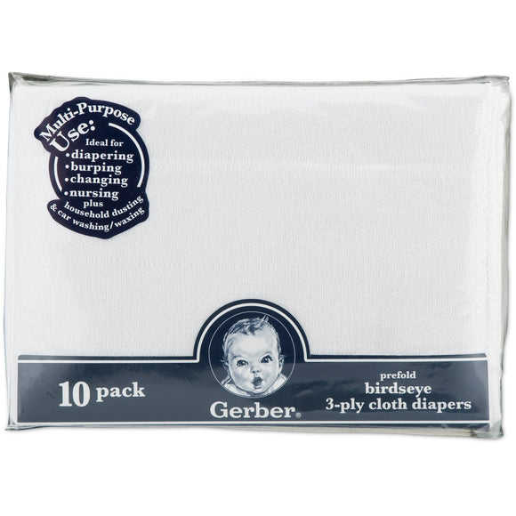 Gerber Prefold Birdseye 3-Ply Cloth Diapers, White - 10pk