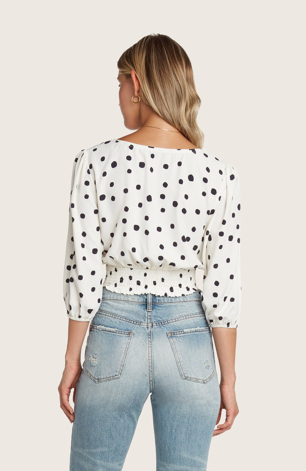 Willow-carla-cropped-polka-dot-wrap-top-black-white-vneck-puff-sleeve-smocked-back-slim-fit-matching-set-front-waist-tie