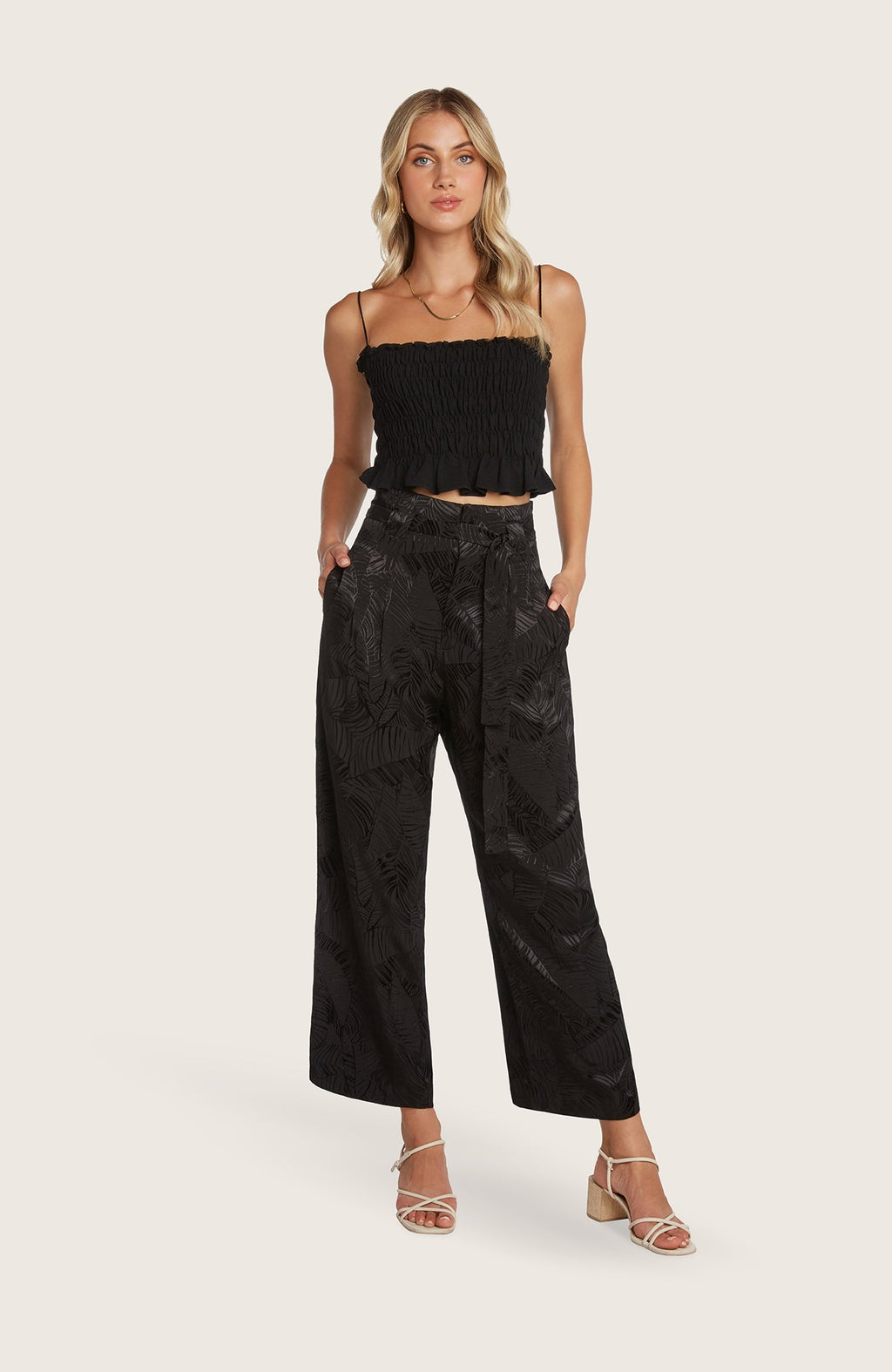 willow-chandler-pants-jacquard-print-silky-tie-belt-wideleg-cropped-highwaisted-black-leaf-print-party-goingout-matching-top