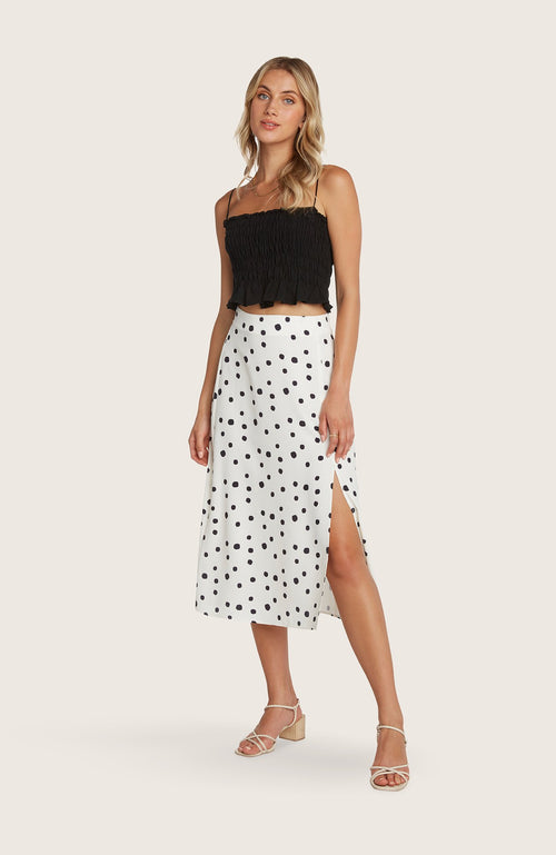 willow-Dede-skirt-midi-length-polkadot-black-white-slit-highwaist-aline