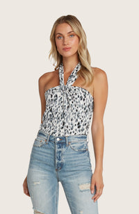 Willow-irma-halter-neck-top-white-black-blue-pinted-tie-open-back