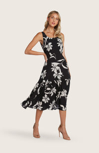 Willow-kate-dress-midi-length-flowy-skirt-bra-friendly-floral-flower-print-black-white-scoop-neck-detail