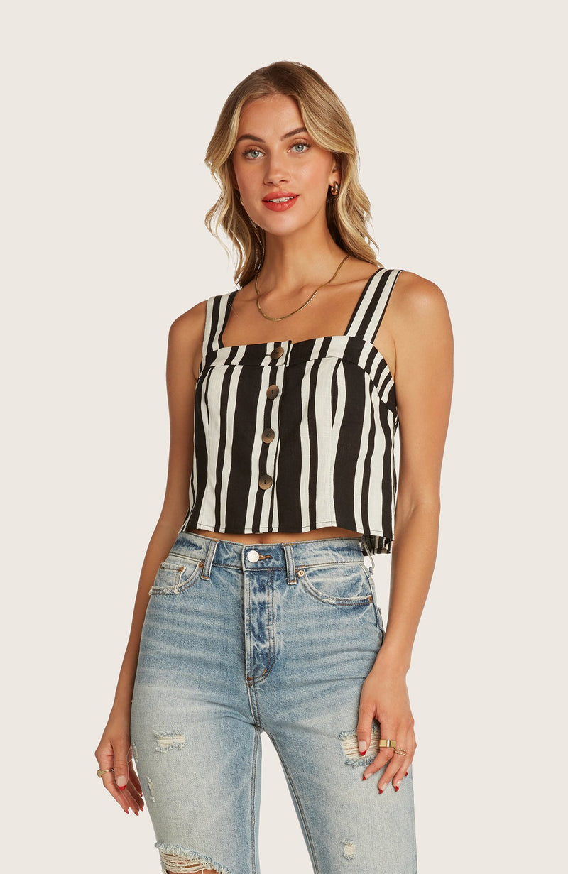 Willow-leo-crop-top-black-white-stripped-button-front-matching-set