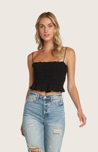 Willow-many-cropped-crop-top-adjustable-shoulder-tie-black-smocked-stretchy