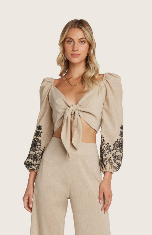 Willow-maria-cropped-crop-top-tie-front-embroidered-sleeve-puffsleeve-sand-black-smocked-back