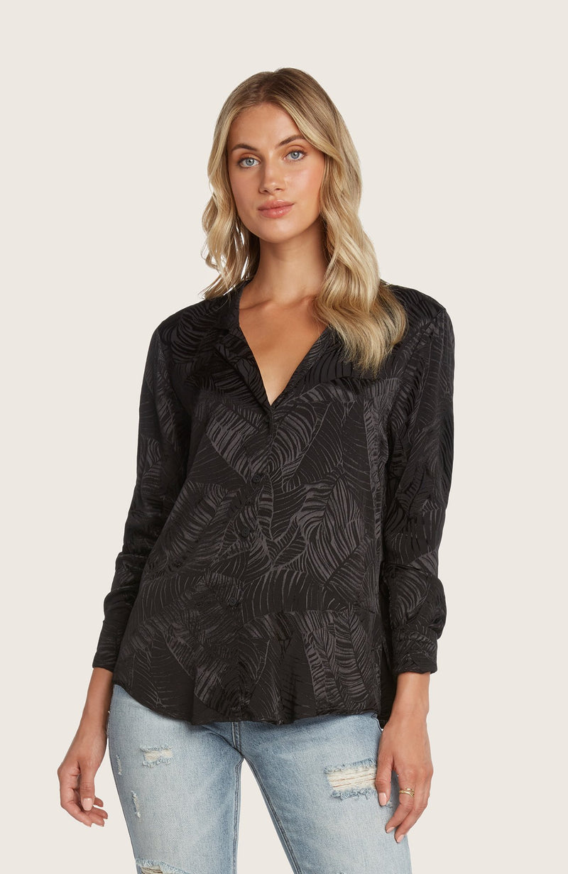 Willow-oscar-button-down-shirt-top-jacquard-printed-black-notched-lapel-cuffed
