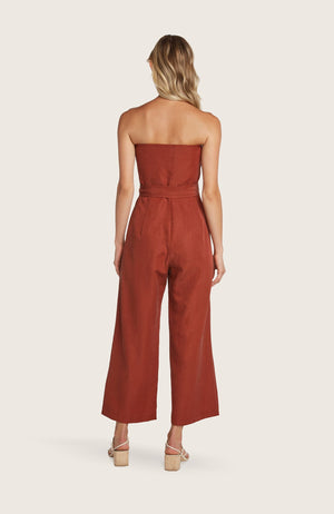 Willow-ryan-jumpsuit-strapless-wideleg-cropped-pants-floral-flower-print-black-white-clay-red-removable-belt-pockets