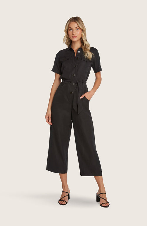 Willow-susie-jumpsuit-utility-coveralls-one-piece-jumper-black-clay-red-short-sleeve-vintageinspired-pockets-button-front-wideleg-cropped-pants-removable-belt