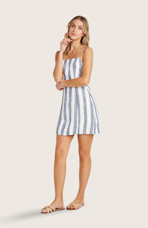 Willow-ritchie-dress-striped-mini-dress-adjustable-spaghetti-straps-indigo-blue-white