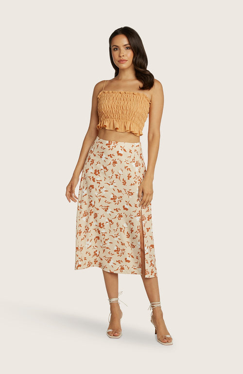 willow-dede-skirt-midi-length-printed-slit-highwaist-aline-cantaloupe-orange