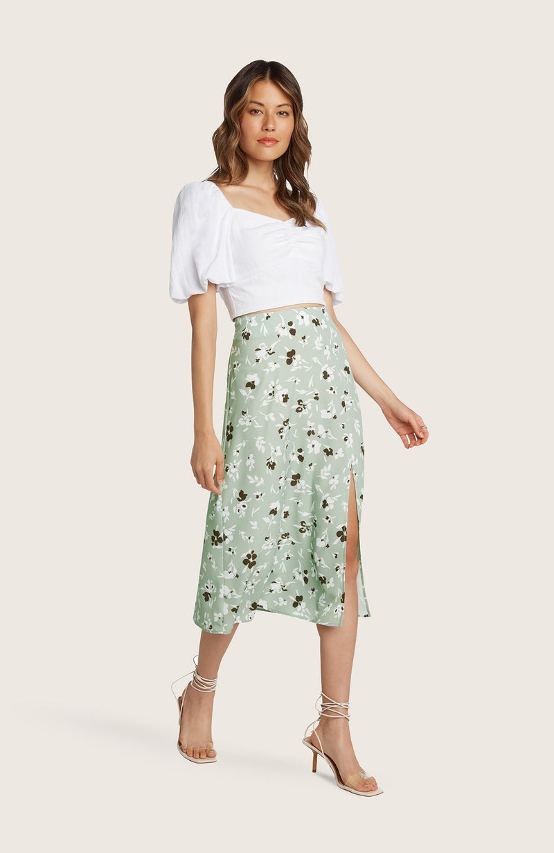 willow-Dede-skirt-midi-length-pistachio-green-floral-printed-slit-highwaist-aline