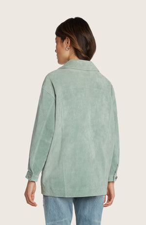Willow-dom-jacket-suede-leather-classic-relaxed-fit-structured-collared-light-weight-stictching-pistachio-green