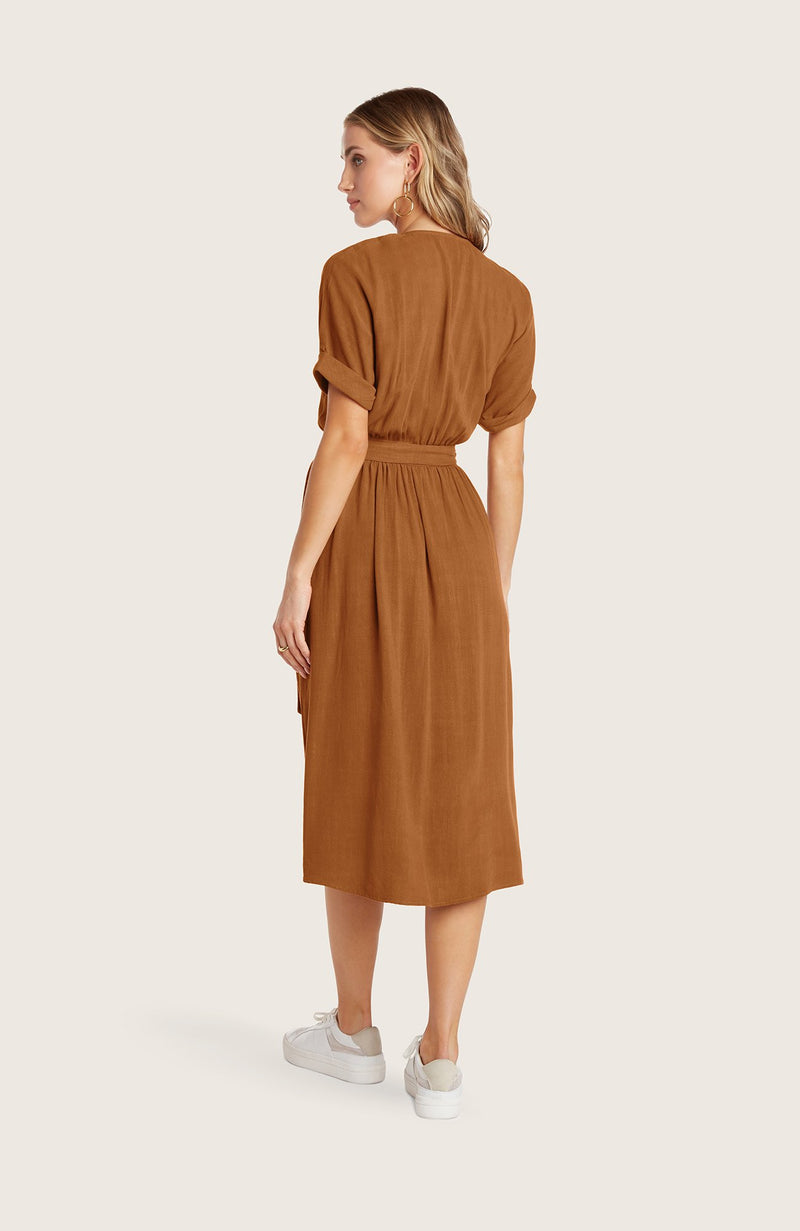 Willow-helen-dress-wrap-style-vneck-short-sleeve-linen-midi-length-terracotta-red