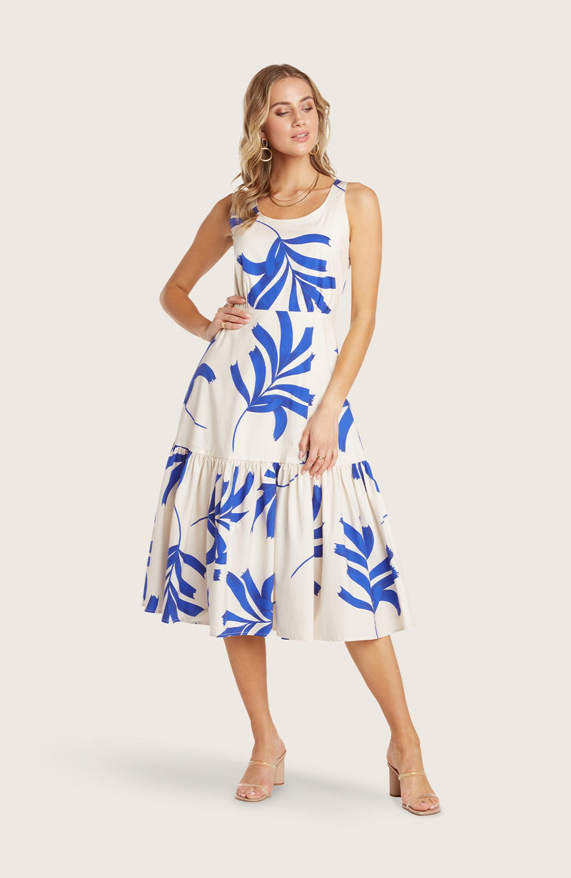 Willow-kate-dress-midi-length-flowy-skirt-bra-friendly-floral-flower-print-cobalt-blue-white-scoop-neck-detail