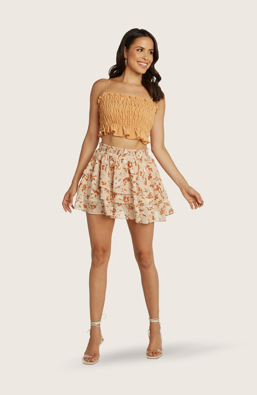 willow-Kathleen-skirt-mini-tiered-gathered-flouncy-lined-shorts-cantaloupe-orange