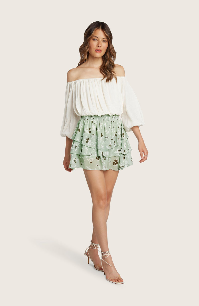 willow-Kathleen-skirt-mini-tiered-pistachio-green-floral-gathered-flouncy-lined-shorts