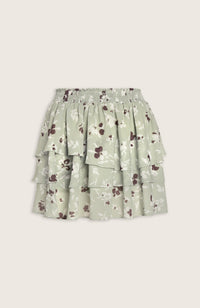 Chiffon Tiered Mini Skirt with Floral Print in Pistachio Mint Green by WILLOW Clothing