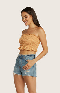 Willow-many-cropped-crop-top-adjustable-shoulder-tie-smocked-stretchy-elastic-cantaloupe-orange