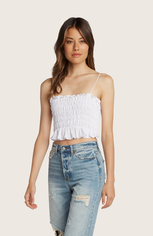 Willow-many-cropped-crop-top-adjustable-shoulder-tie-black-smocked-stretchy-white